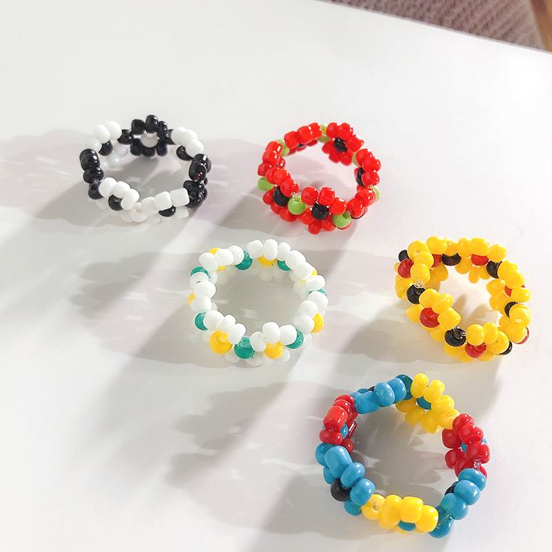 Handmade Colorful Beads Weave Rings For Women Personality Korean Flower Ring Cute Bohemian Jewelry in Rings from Jewelry Accessories