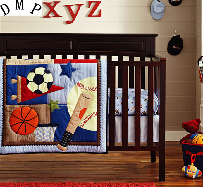 Фото Promotion! 6PCS baby Crib bedding set Cot set Embroidered Quilt Bumper Sheet Dust Ruffle for boy bed (bumper+duvet+bed cover). Купить в РФ