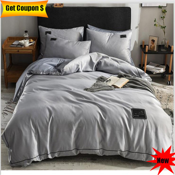 Euro style silk cotton bedding set 4pcs 2019 new style solid color hot sale bed sheet pillowcase duvet cover set free shipping