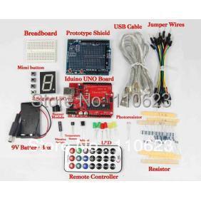 KIT UNO R3 version améliorée du Kit de démarrage la platine de prototypage, LED, capteur de température LM35, câble USB pour kit arduino