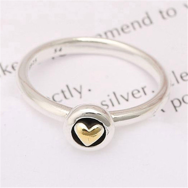 Trendy 925 Sterling Silver Golden Heart Ring For Women Engagament Anniversary Party Wedding Rong Fine Europe Jewelry Original in Wedding Bands from Jewelry Accessories