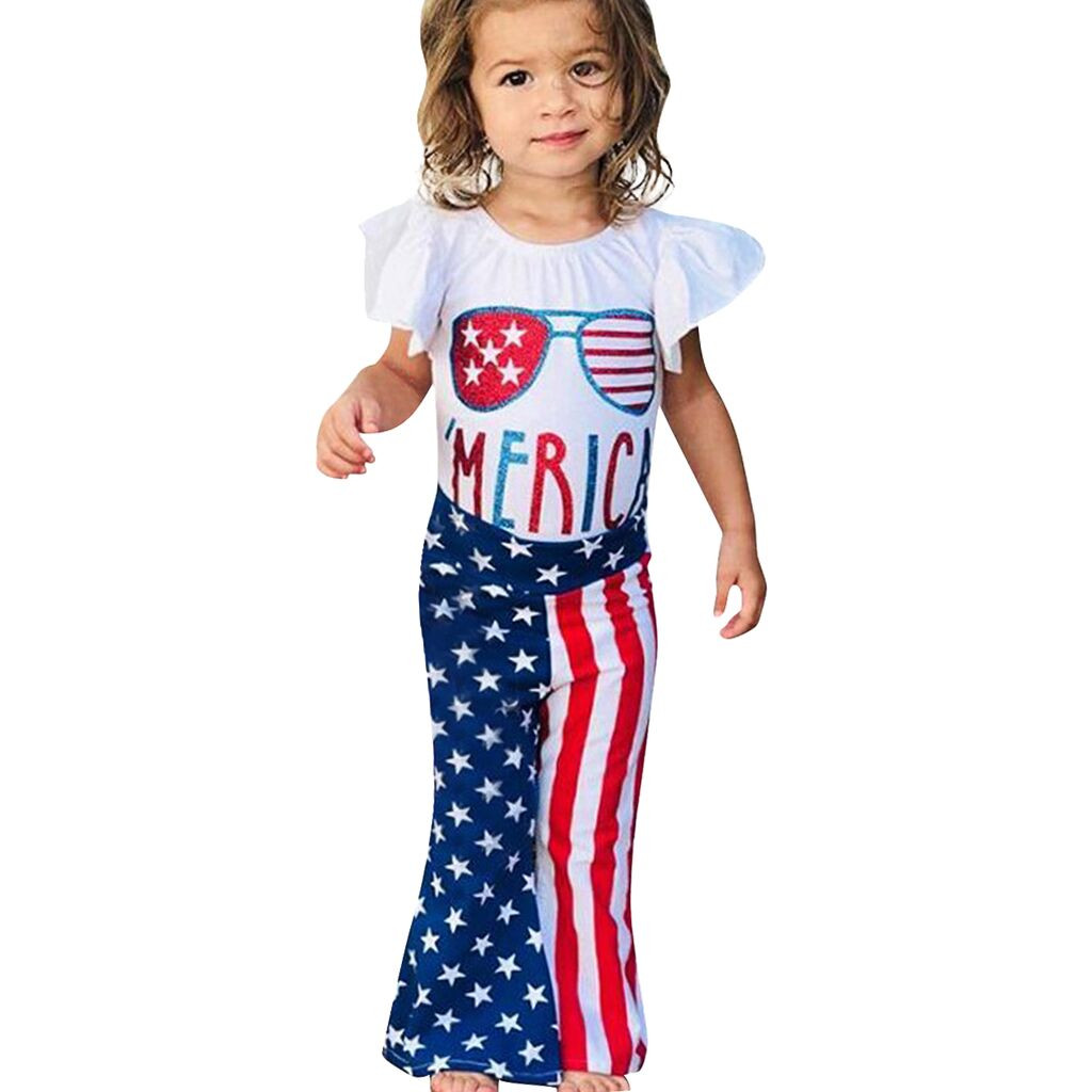 MUQGEW Baby Girl Clothes Kids Baby Girls Letter Print T Shirt Tops Star Striped Pants July Of 4th Dropshipping Roupa Infantil