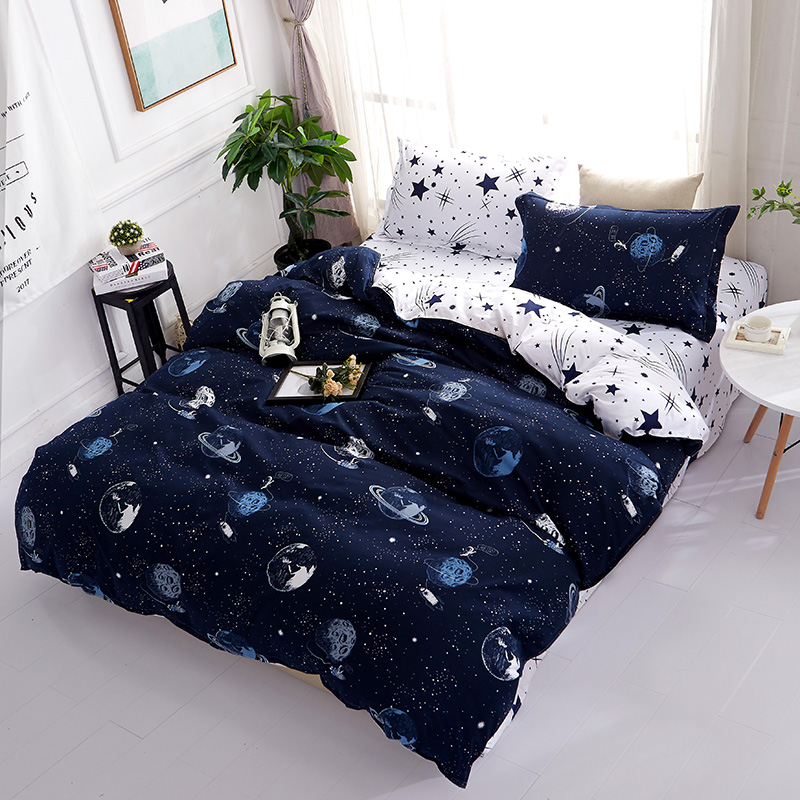 3D Bedding Sets Star Galxy Duvet Cover Blue White 4pcs cartoon geometric Bed sheets Single Twin