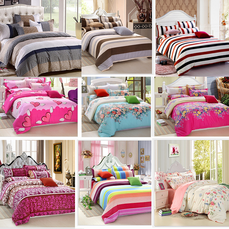 4pcs single twin full queen size bed quilt duvet cover set sheet pillowcase shams stripe floral. Black Bedroom Furniture Sets. Home Design Ideas