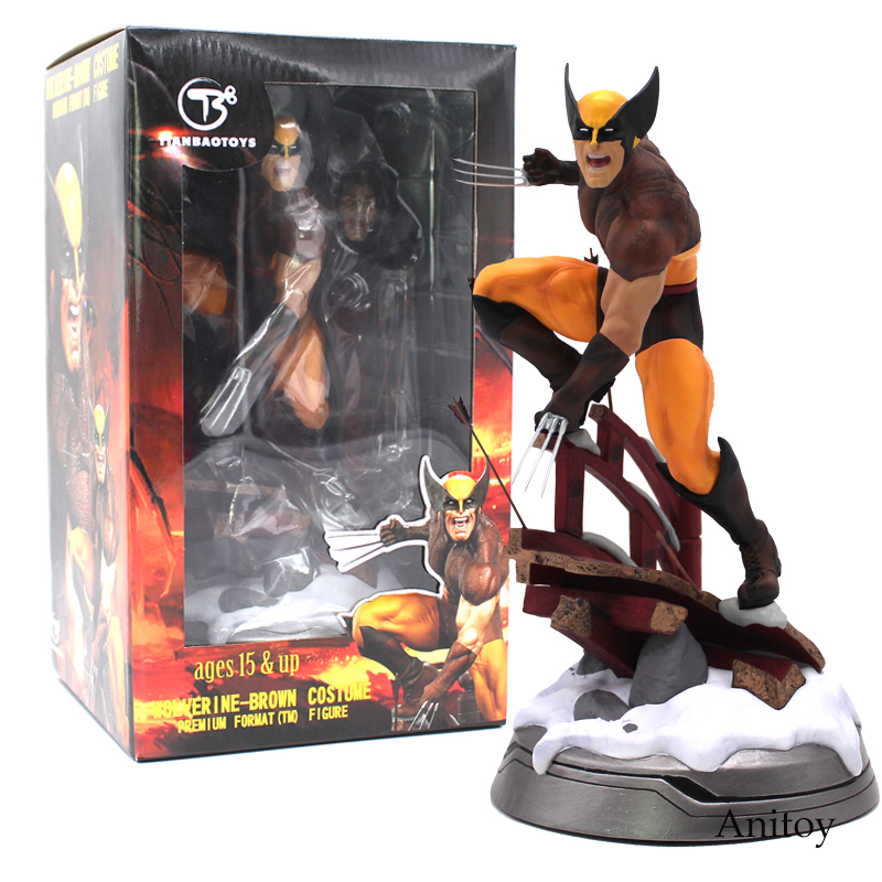 Super Hero Marvel Logan Statue Premium Format Brown Costume Ver. PVC Figure Collectible Model Toy (can exchange haed) 24cm 2015 new free shipping marvel super hero x men wolverine pvc action figure collectible toy 1231cm with box