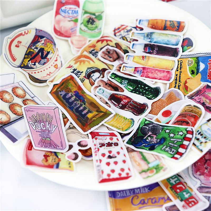 33pcs Colorful  DIY Food Stickers LINE Daily Snacks 2  Waterproof Skateboard Suitcase Motorcycle Guitar DIY Decals Bomb Sticker