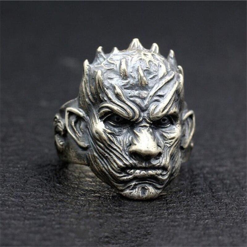 Film jeu de trônes nuit roi anneau Cosplay accessoires Badge argent fin Direwolf Stark Punk travail à la main anneau finition Antique