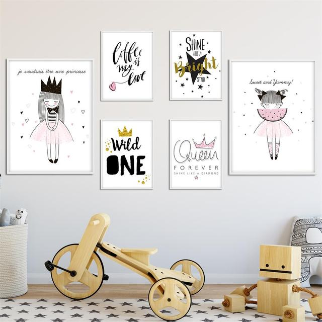 Children Posters Cute Cartoon Girl Wall Art Canvas Prints Cartoon Painting Nordic Nursery Wall Pictures Kids Bedroom Decoration