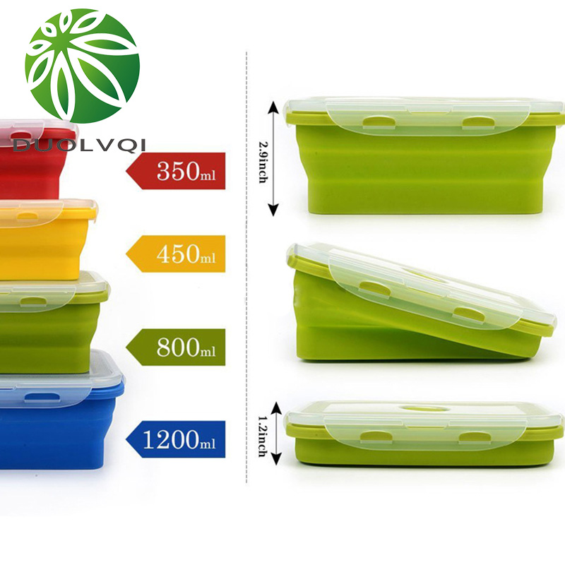 Duolvqi Silicone Lunch Box Portable Bowl Colorful Folding Food Container Lunchbox 350/500/800/1200ml Eco-Friendly Duolvqi Silicone Lunch Box Portable Bowl Colorful Folding Food Container Lunchbox 350/500/800/1200ml Eco-Friendly