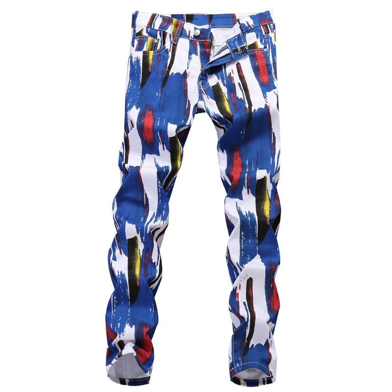 Mens Pants Fashion Print Men Trousers Casual Fashion Jeans Men Pant