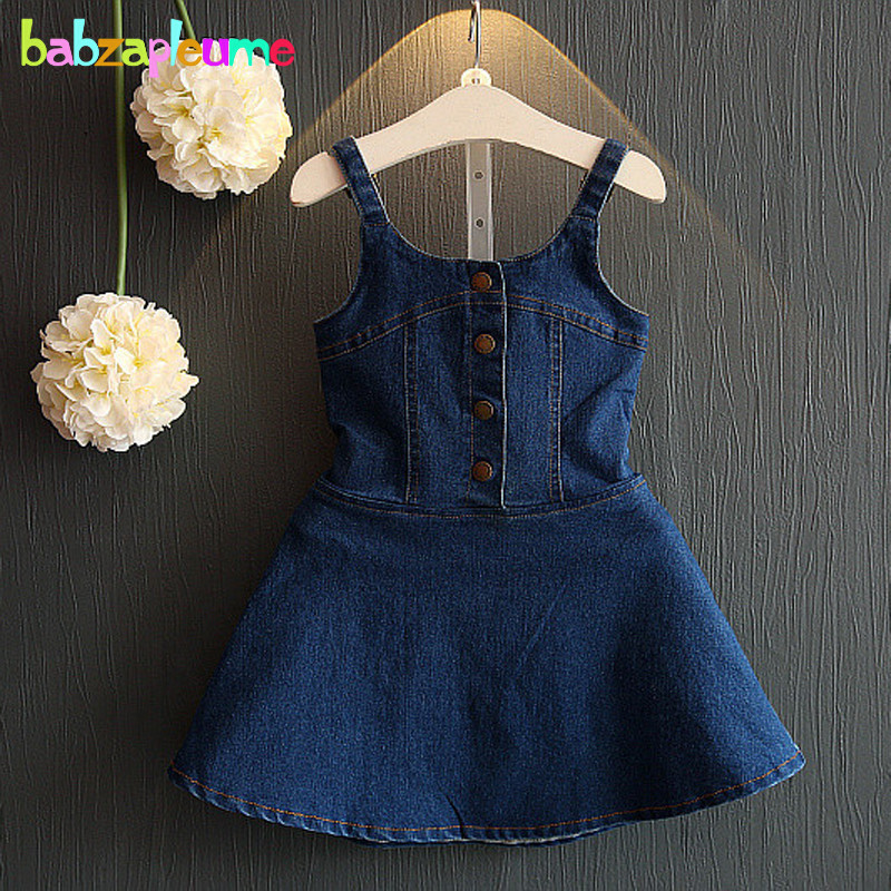 2-6Years/Summer Style Toddler Dresses Baby Girls Clothes Princess Costume Denim Cute Kids Dress Korean Children Clothing BC1116 fashion kids baby girl dress clothes grey sweater top with dresses costume cotton children clothing girls set 2 pcs 2 7 years