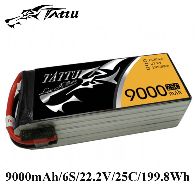 TATTU Lipo Battery 22.2V 9000mAh Batteries Lipo 6s without Plug 25c RC Battery for Cinestar 8HL Professional UAV Quadcopter tattu lipo battery 22 2v 22000mah lipo 6s 25c rc battery with as150 xt150 plug batteries for quadcopter drones helicopter