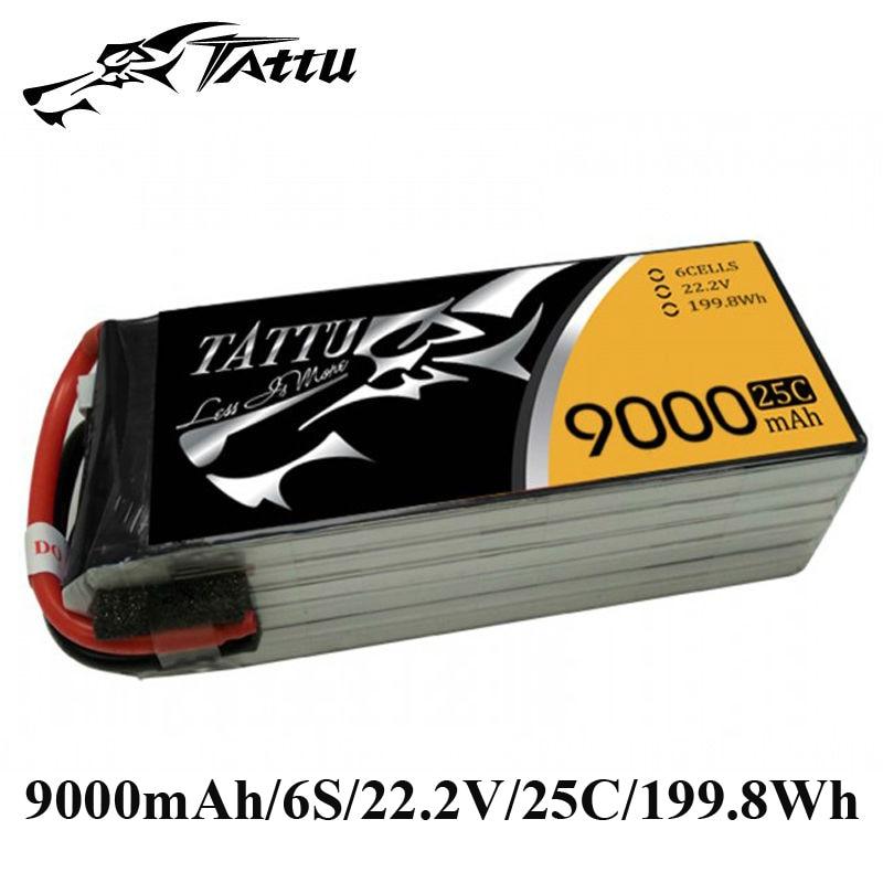 TATTU Lipo Battery 22.2V 9000mAh Batteries Lipo 6s without Plug 25c RC Battery for Cinestar 8HL Professional UAV Quadcopter цена и фото