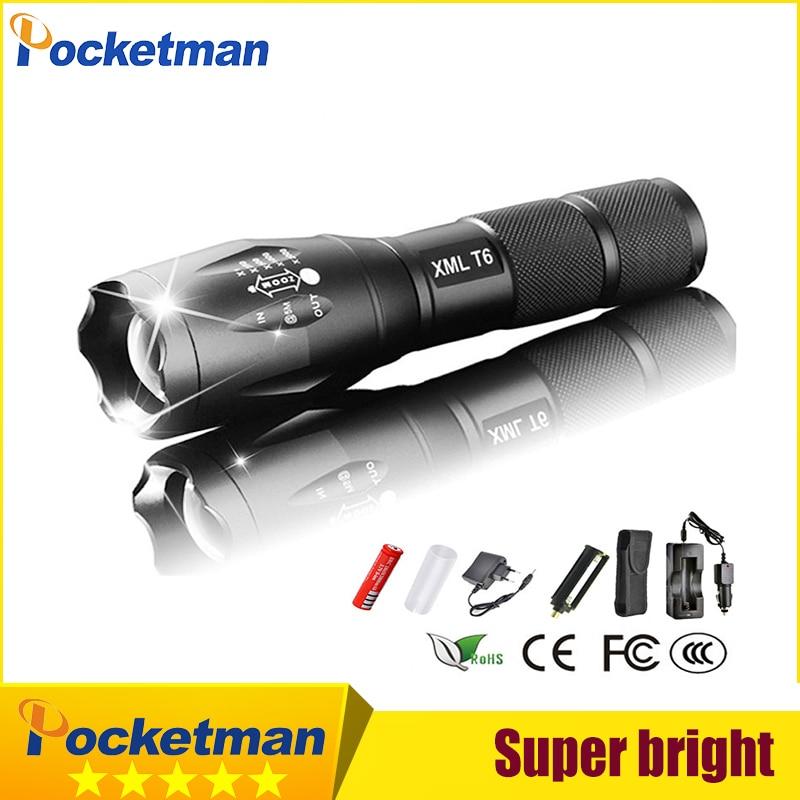 XML-T6 3000lm Réglable Led lampe de Poche Led Torche Chargeur De Voiture + Chargeur de Batterie + 1*18650 Rechargeable Batterie + Étui poche zk93