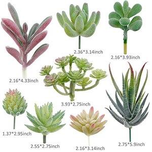 Image 5 - APRGARDEN 16pcs Artificial Succulent Mini Fake Flocking Plants for Lotus Landscape Decorative Garden Arrangement Home Desk