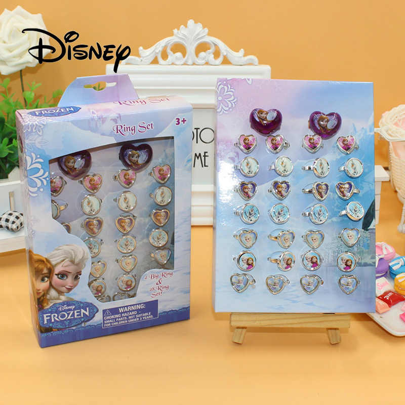 Disney 30pcs/set Frozen Elsa Anna Child Cartoon Ring Accessories Kids Jewelry Cosmetic Toys Girls Gifts For Birthday Party