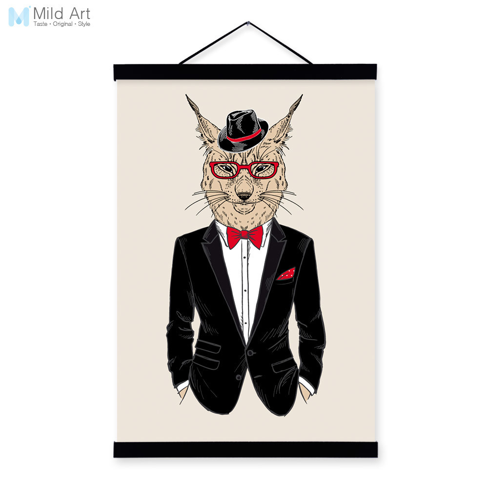 Lynx Modern Fashion Gentleman Animals Portrait <font><b>Hipster</b></font> A4 Framed Canvas Painting Wall Art Print Picture Poster Office <font><b>Home</b></font> <font><b>Decor</b></font>
