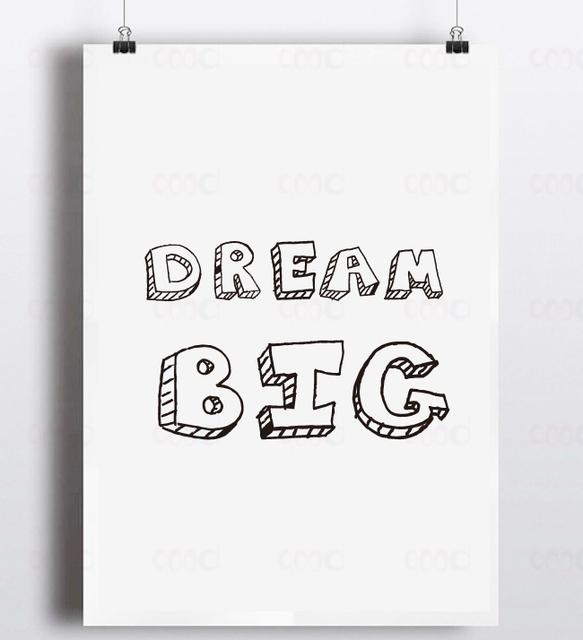 Famous Cartoon Dream Big Quote Canvas Art Print, Wall Pictures Home  YW98