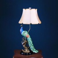 Luxury European Peacock Lamp Ceramics With Copper Home Accessories American Living Room Bedroom Bedside Table Lamp Decoration