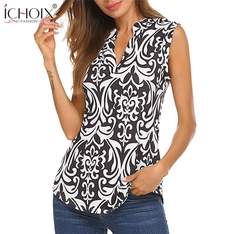 ICHOIX 2019 Fashion Floral Print Female T-shirt Sexy V-Neck Cotton Women Tshirts Summer Casual Bodycon T Shirt Sleeveless Top