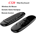 C120 2.4GHZ Mini Keyboard Gyroscope Wireless 3 Axis Sensor Air Fly Mouse Remote+Somatic Game Handgrip for Android TV BOX Laptop