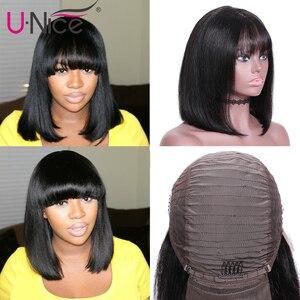 Image 4 - Unice pelo Bob peluca franja de encaje frontal pelucas de cabello humano 8 14 pulgadas Bob corto peluca Remy brasileña con flequillo Peluca de encaje para mujeres negras