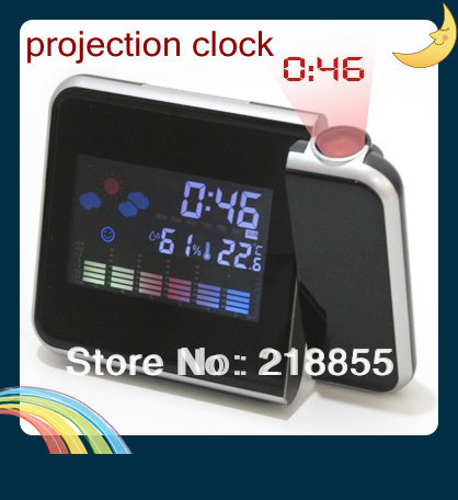 HOT ! Weather Multi-Function Station Projection Alarm Clock LED Display Free Shipping+Drop Shipping,Children Gifts