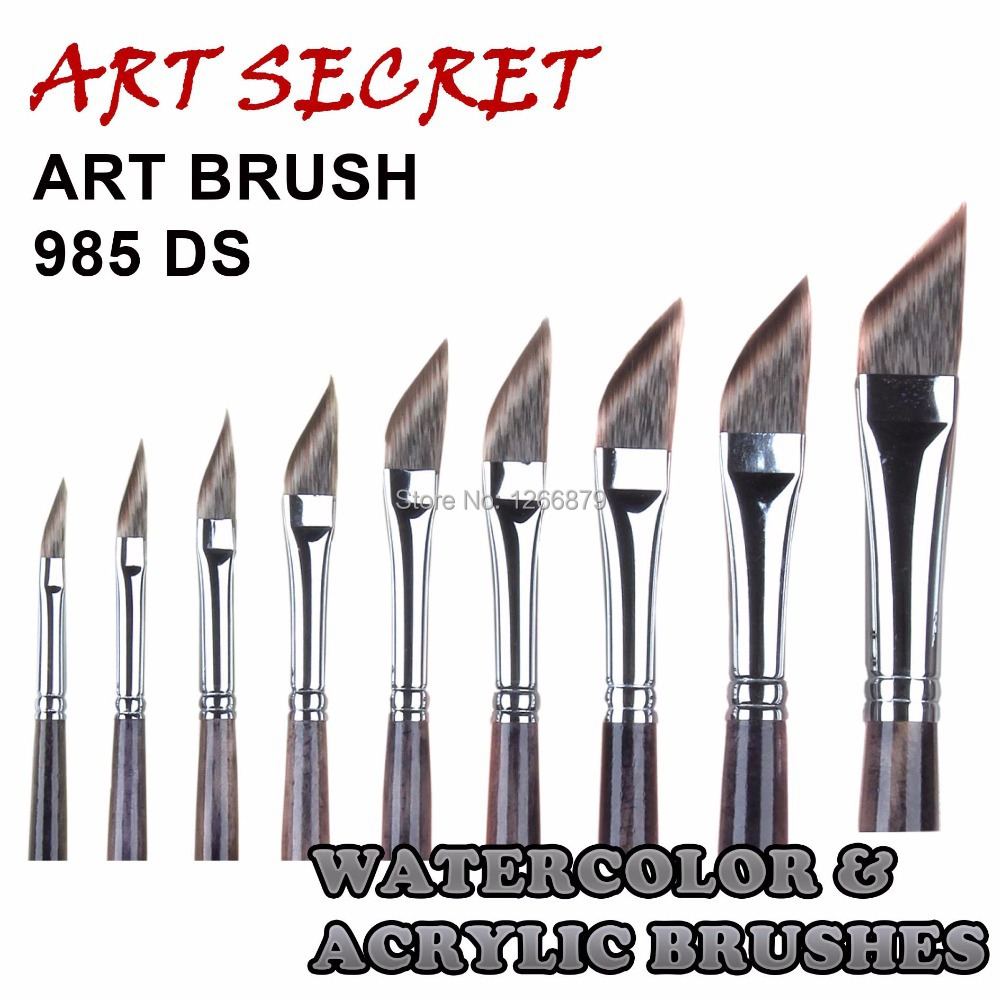 985DS High Quality Korea Importing Mangoolon Taklon Hair Wooden Handle Dagger Shape Brass Ferrule Watercolor Liner Art Brush