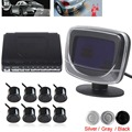 Waterproof 8 Rear Front View Car Parking Sensors System Auto Vehicles Reverse Backup Radar Kit with LCD Display Monitor
