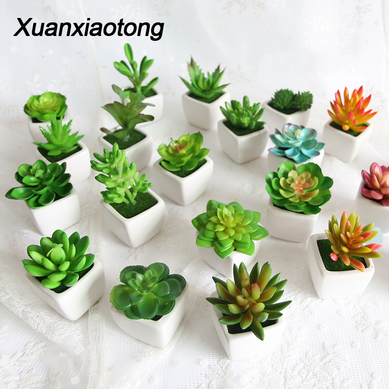 Mini Vivid Cactus Succulent Home Garden Decoration Artificial Bonsai Plant With Vase For Office Table Decor Indoor Fake Plants