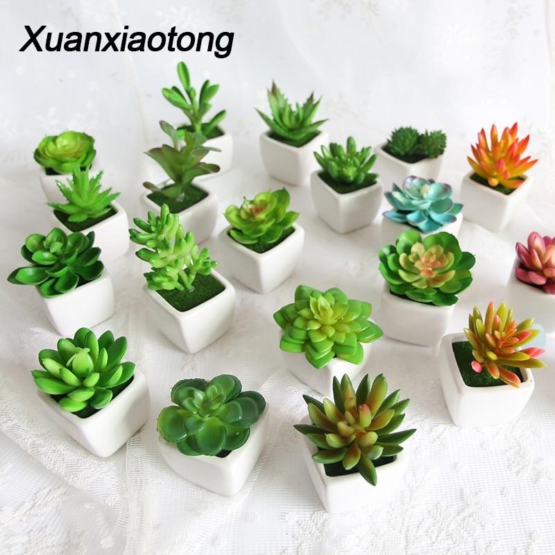 Mini Vivid Cactus Succulent Home Garden Decoration Artificial Bonsai Plant With Vase For Office Table Decor Indoor Fake Plants