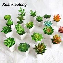 Mini Cactus vívido suculenta decoración artificial de jardín planta bonsái con jarrón para la decoración de la Mesa de oficina plantas artificiales de interior