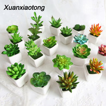 Xuanxiaotong Artificial Mini Plants Vivid Cactus Succulent Home Decoration Bonsai Plant with Vase for Office Table Indoor Plants(China)