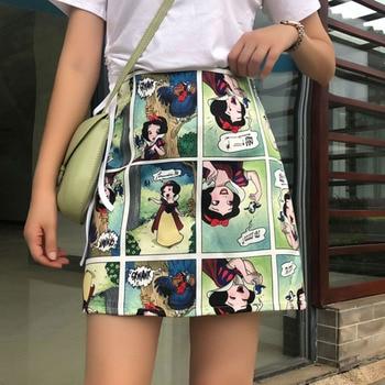 Snow White Cartoon Print Mini Skirts Summer High Waist Pencil Skirt Beach Warp Skirts Design A-Line Korean Vintage Slim Fit Sexy 3
