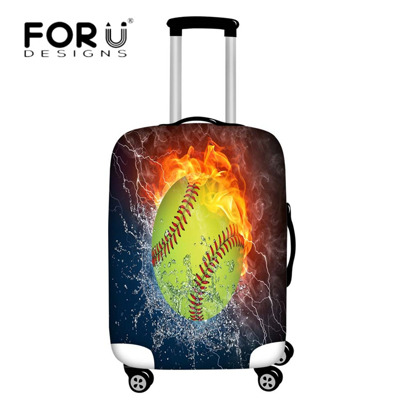 FORUDESIGNS Spandex Luggage Cover Baseball Fire 3D Print Suitcase Protective Covers Dust Rain Cover Apply To 18-30 Trolley Cases