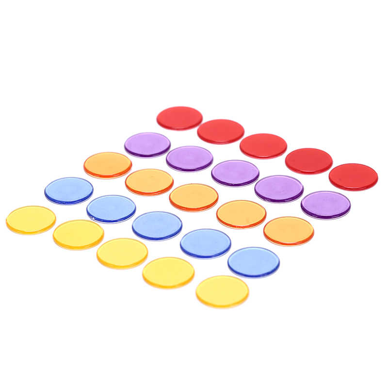 50Pcs  5Colors 1.5cm Plastic Poker Chips Casino Bingo Markers for Fun Family Club Carnival Bingo Game Supplies Acce