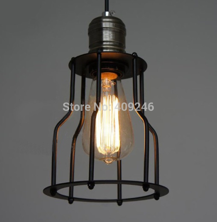 LOFT SINGLE Cage Droplight  Wrought Iron Edison Vintage Ceiling Pendant Lamp For Cafe Bar Coffee Shop Hall Bedside american edison loft industrial vintage edison grid loft ceiling lamp droplight cafe bar club balcony e27 black white iron cage