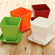 1pcs Candy Colors Mini Square Plastic Plants Flower Pots Home Garden Office Succulent Plant Pot Greenhouse Nursery Trays(China)