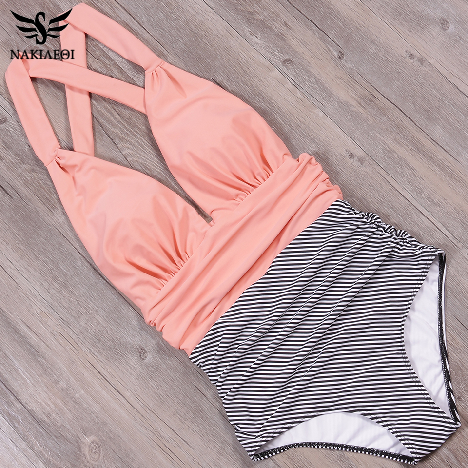 Foto from the top pink color new one piece swimsuit for beach. Swimming backless v-neck for women