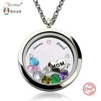 Personalized 925 Silver Pendant Necklace Custom Crystal Engraved Letter Mother Jewelry Chain Floating Charm Locket Family Gift