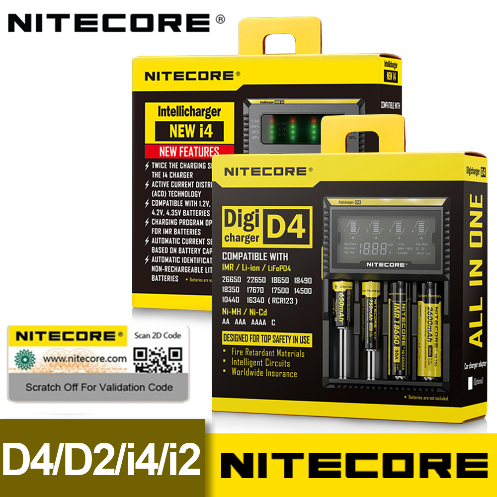 100% Original Brand Nitecore Battery Charger D4 D2 I4 I2 LCD