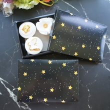 gold star in night design 22*14*4.5cm Paper Box wedding Party Candy Cookie Chocolate Macaroon Christmas DIY gift Packaging
