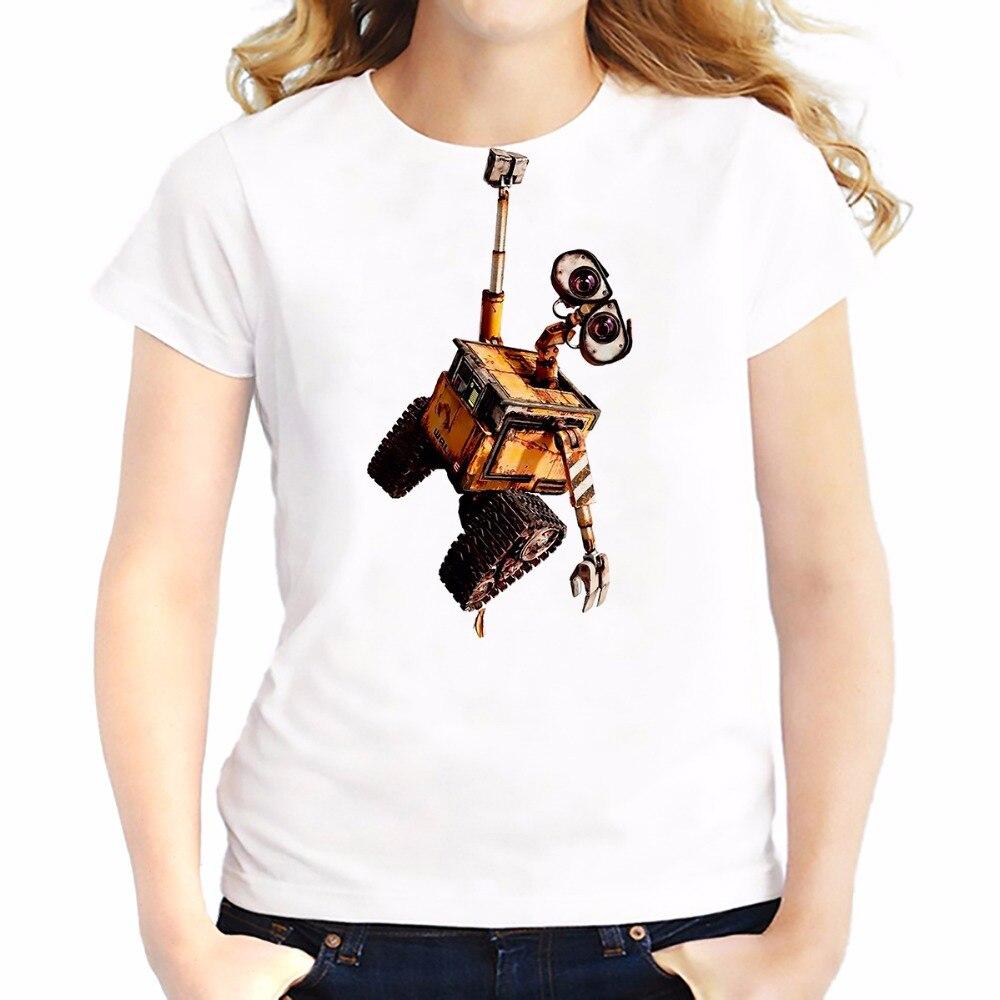 Wall-E Eve Robot Couple Funny T Shirts Feminina New Summer Tees Shirt Soft Breathable Tshirt Short Sleeve T-Shirts Femme