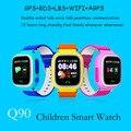 Q90 smart watch para niños sos gps apgs bebé reloj sim tarjeta de control remoto de Llamadas de voz micro hablar Despertador pk q50 q80