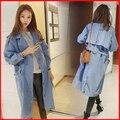 Осень-Весна женская Мода джинсовая пальто женщина с длинными рукавами Ветровка Повседневная Пиджаки FY-80-96