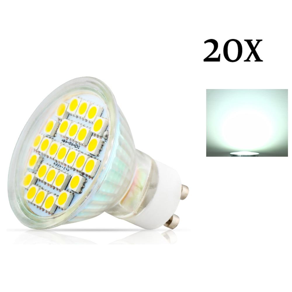 20X GU10 3,5 Вт 27 шт. 5050 SMD светодиодные лампы точечной подсветки AC220V 240V теплый белый/холодный белый Светодиодные лампы для дома лампада Светодиодная лампа