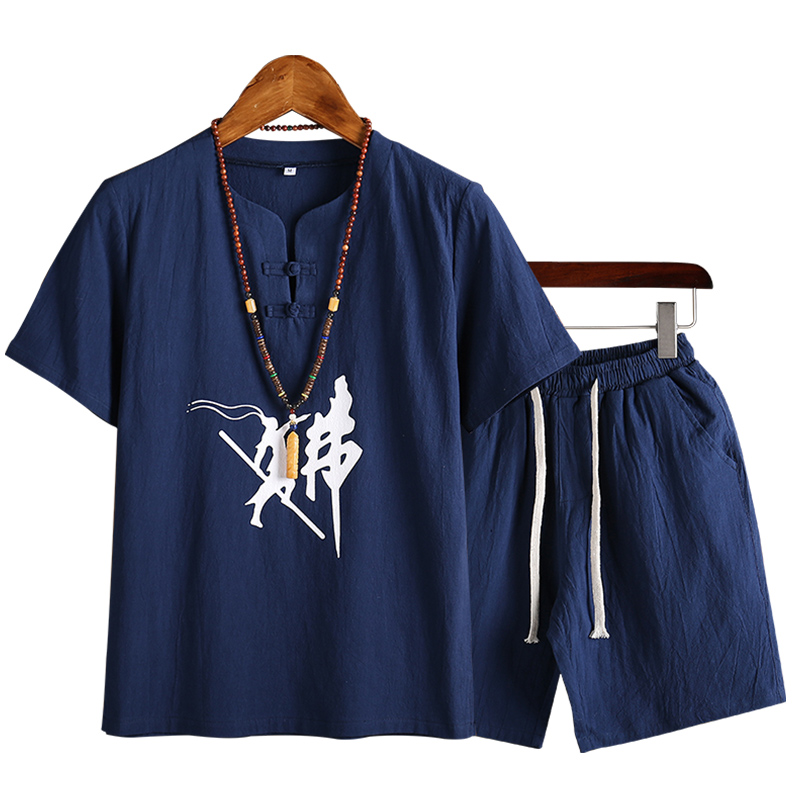 Chinese Wind Men's Buddhist Cotton And Hemp Shorts Suit Tang Suit Summer New M901-P43