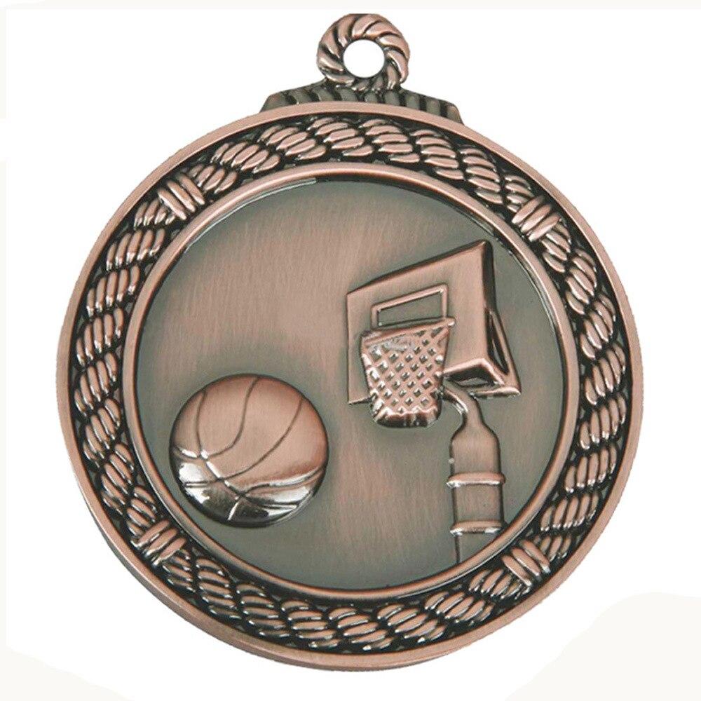 new bronze round basketball game medals cheap custom 3D antique brass