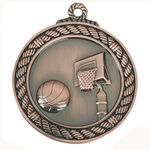 new bronze round basketball game medals cheap custom 3D antique brass