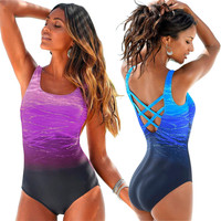 Large Size 2018 Sexy One Piece Swimsuit Female Women Vintage Swimwear High Neck Bandage Criss Cross